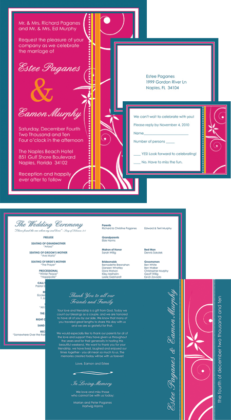 Wedding Design Invitations RSVP cards programs Invites Postcard